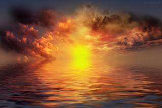 sea, the sun, sunset