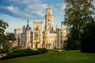Чехия, замок, Gluboka, nad, Vltava, трава, города