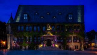 Германия, дома, Quedlinburg, улица, лестница, ночь, Уличные фонари, лучи света, город