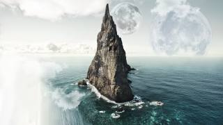 море, місяць, скеля, хмари, небо, вода