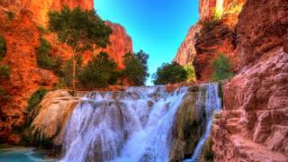 vodopád, grand, pokud, arizona, málo, Colorado, řeka, stromy, skála, příroda