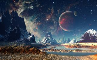 space, planet, the sky, mountains, stars