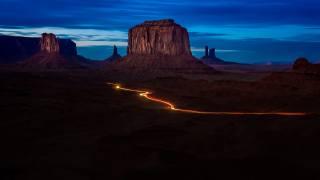 krajina, údolí, noc, příroda