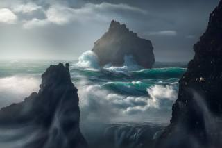 vlny, bouře, skály, krásně