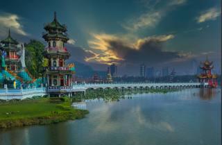most, jezero, budovy, doma, Čína, Tchaj-wan, pagoda, Гаосюн, Kaohsiung, město