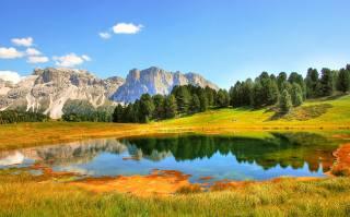 Alpy, dolomity, nebe, stromy, jezírko