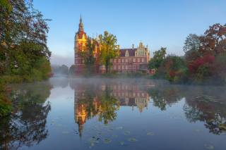парк, отражение, река, замок, утро, Германия, Германия, саксония, Саксония, Muskau Park, Schloss Muskau, Lusatian Neisse River