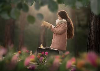 příroda, jaro, stromy, květiny, tulipány, dítě, dívka, kabát, kniha, mláďata, гусята