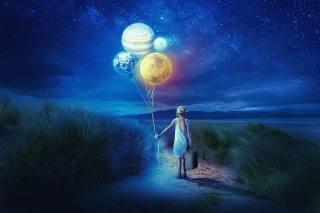 ніч, дівчинка, Кулі, небо, зірки