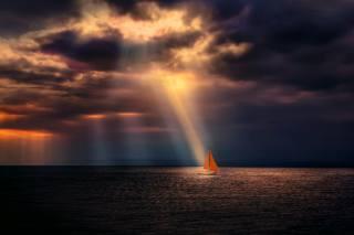 námořní téma, mraky, světlo, jachta, plachty