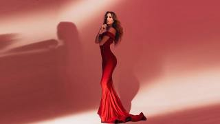 rachel k starr, beautiful, girl, Red, background, dress, slim, figure