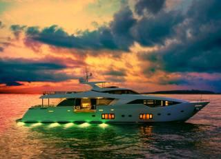 yacht, backlight, the ocean