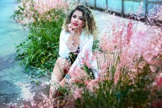 girl, smile, flowers