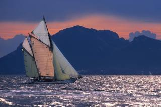 boat, sail, mountains