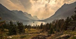 nature, mountains, the lake