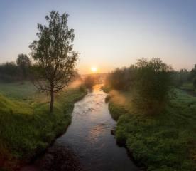 léto, svítání, říčka, foto, Павел Ващенков