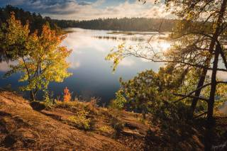 podzim, jezero, les, karelia