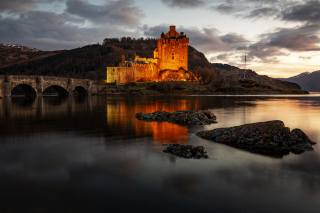 the bridge, Замкок, evening, Scotland, Eilean, Donan, castle, Kyle of Lochalsh, Bay