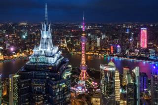 вдома, хмарочоси, Китай, Шанхай, ніч, мегаполіс, місто
