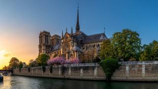 Paris, France, the city, river, the temple, the hunchback of Notre Dame, architecture, Gothic, evening, sunset