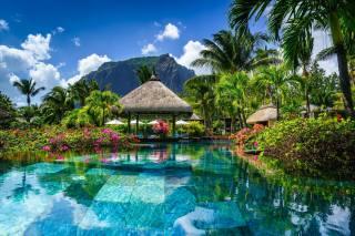 Маврикий, курорт, Отель, бассейн, вода, скала, пальмы, цветы, беседки