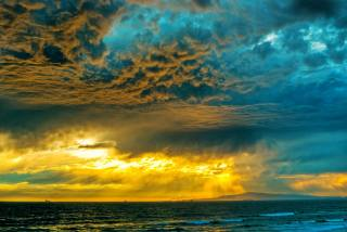 буря, облака, море, пейзаж