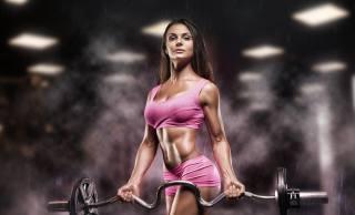 fitness, rozostření pozadí, шатенка, tyč, břicho
