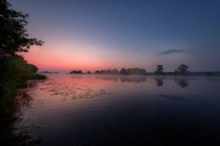 лето, пейзаж, природа, туман, река, рассвет, утро, Андрей Чиж