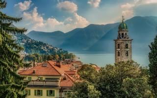 Lugano, mountain landscape, озеро, ранок, Схід, туман, Швейцарія
