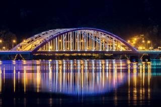 South Korea, ніч, міст, Сеул, Неон, світла, міський пейзаж, reflectio