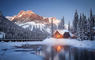 Kanada, příroda, krajina, rezervace, zima, sníh, hory, jezero, les, odraz
