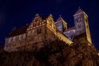 Germany, castle, night, Schloss Quedlinburg