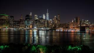 нью-йорк, ніч, місто, річка, хмарочоси, вогні