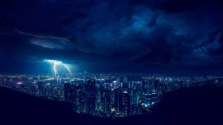 lightning, the sky, the storm, nature, clouds, the city, night