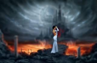 holka, pozadí, fantasy, tvůrčí