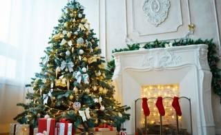 vánoční strom, krb, svátek, dárky