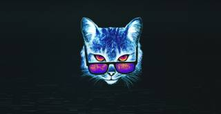 cat, glasses, drawing, background, minimalism
