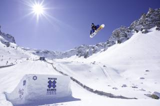 snowboard, snowboarding, snowboardista, let, hory, krásně