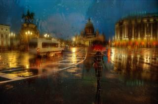 Petersburg, питер ночью, исаакий, autumn, the rain, girl, umbrella, art