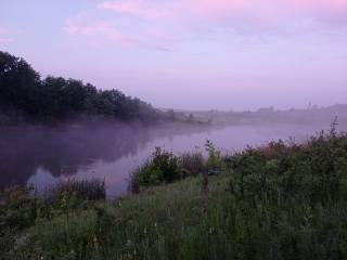 літо, Червень, туман, озеро, ранок, перед восходом солнца