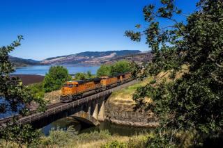 пагорби, річка, залізниця, поїзд, міст