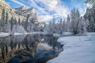 mountains, river, snow