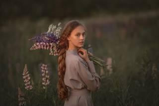 holka, v přírodě, dlouhé vlasy, Kosa, květiny, pole, foto, Олег Родин