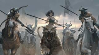 дівчина, верхи, на тигре, воїни, конные, wlop