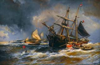 Луи Габриэль Эжен Изабе, лодки в шторм, живопис