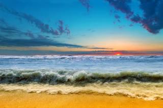 берег, прибій, пляж, небо