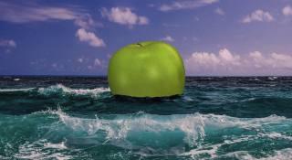 яблуко, океан, хвилі