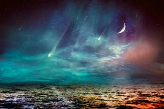 the moon, sea, paint, the sky, space