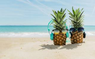sand, sea, pineapple, summer, glasses