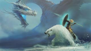 white, bear, Warrior, shield, spear, dragon, philipp ulrich